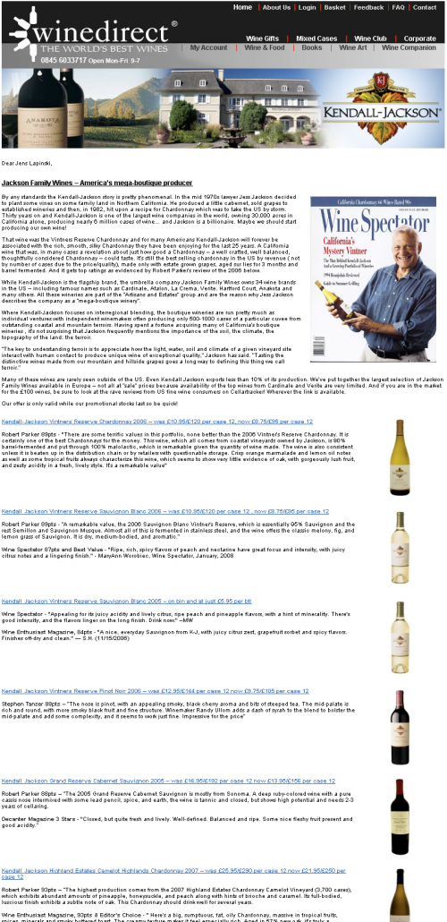 winedirect newsletter